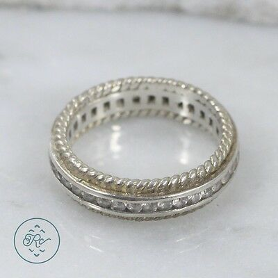 Sterling Silver | 5mm Braided Crystal Infinity Band 3.7g | Ring (6.25) MY6253