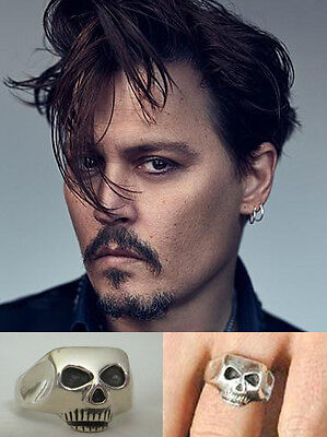 Johnny Depp .925 silver SKULL RING Jack Sparrow Dead Men Tell No Tales Pirates