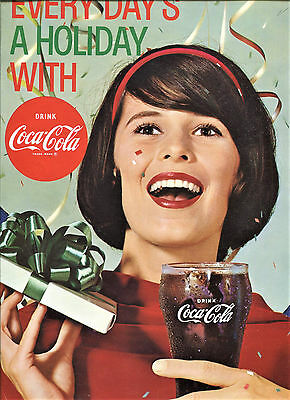 "1960's COCA-COLA Die-Cut Advertising Window SIGN  Holiday Theme 11 1/2"" x 13"""