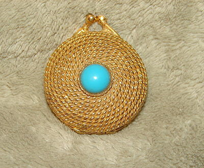 Estee Lauder Gold Rope Weave Small Pill/Trinket Box Compact Turquoise Cabochon