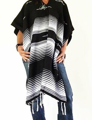 Contrasting Western Mexican Blanket Poncho-Black