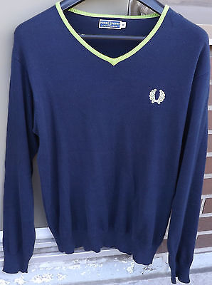 FRED PERRY SPORTSWEAR Mens V-Neck Polo Knit Sweater Size Medium Navy Blue