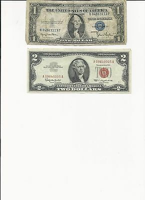 US $1Blue Silver Certificate &  $2 Red Seal Bill Collection Lot