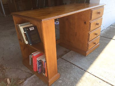 Solid Timber 4 Drawer Desk With Bookshelf
