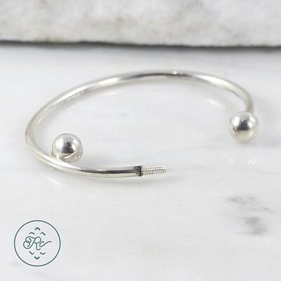 "Sterling Silver | Bead End Charm Cuff (Unscrews!) 13.2g | Bracelet (6.75"")"