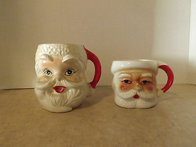 Lot of 2 Vintage Santa Mugs. Made in Japan.
