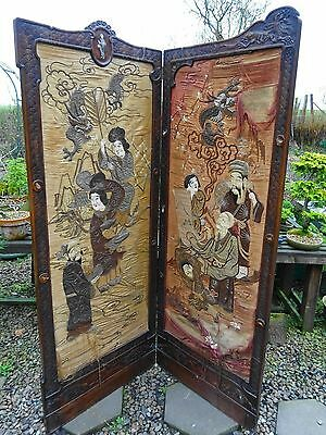 Rare Antique Japanese Shibayama Bi Fold Silk Needlework Screen