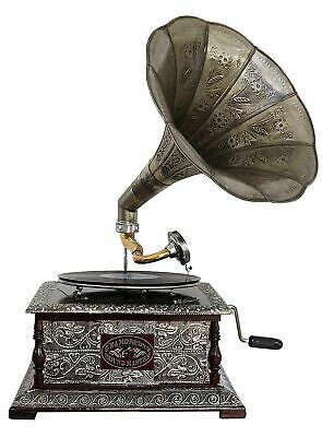 Antique style gramophone complete with horn  decorative wooden base (e)