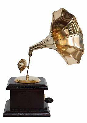 Antique style miniature gramophone with a horn - decorative - without function