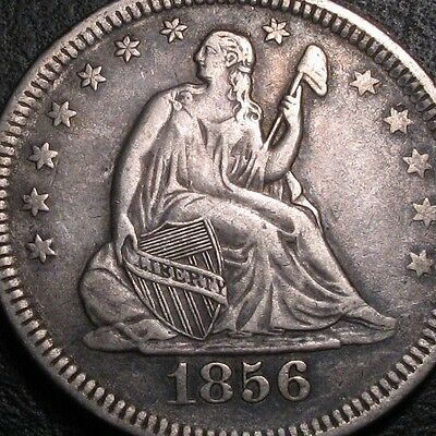Old Us Coins Early 1856 Choice  Liberty Seated Quarter Twenty Five Cents