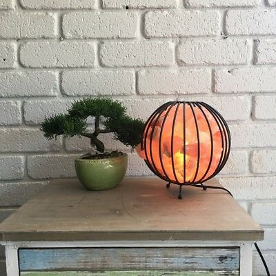 Himalayan Salt Lamp Ionizing Air Purifier Rock Salt Cage Bowl Fire Basket