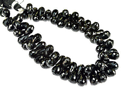 """PH-012 Black Onyx Side Drilled Drops Faceted Beads 6x8mm - 7x11mm 224 Cts 8.5"""""""