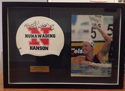 Brooke Hanson Olympic Gold Medalist Framed Signed Cap And Photo