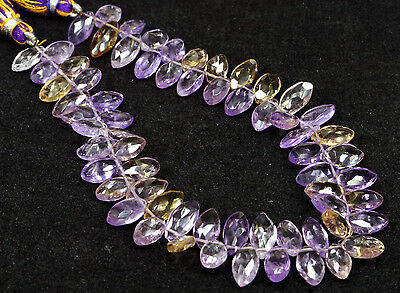 """PH-018 Ametrine Marquise AAA+ Faceted Cut Gems Beads 5.5x10mm-6x11mm 98Ct 8.5"""" $"""