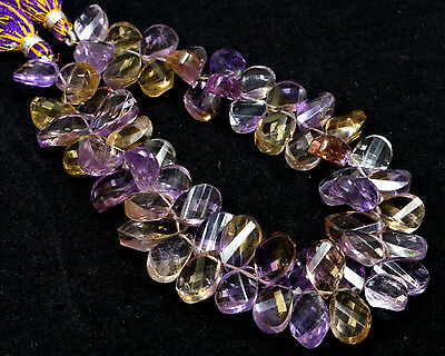 """PH-019 Ametrine Twisted Pear Faceted Gemstone Beads 7.5x11mm-8x12mm 216Ct 8.5"""" $"""