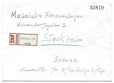 hungary 30/4/1945 inflation regist cover to Sweden last day period13 RRRRRR