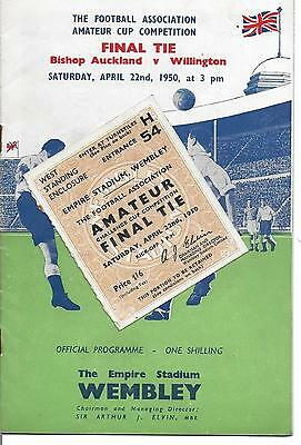 1950: BISHOP AUCKLAND v WILLINGTON  AMATEUR FA CUP FINAL - PROGRAMME & TICKET