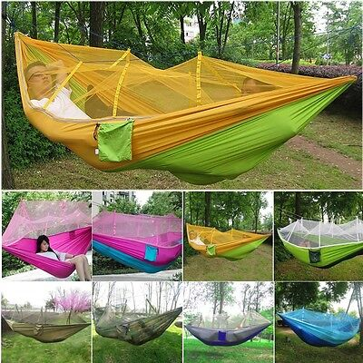 UK 2 Person Hammock with Mosquito Net for Outdoor Hanging Swing Travel Camping