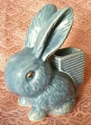 SYLVAC SATIN BLUE GLAZE ART DECO RABBIT MATCH HOLDER STRIKER No.1064 EXCELLENT