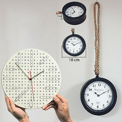 Wall Mounted Word Search Clock Vintage Rope Hanging Style Home Gardn Decor Large