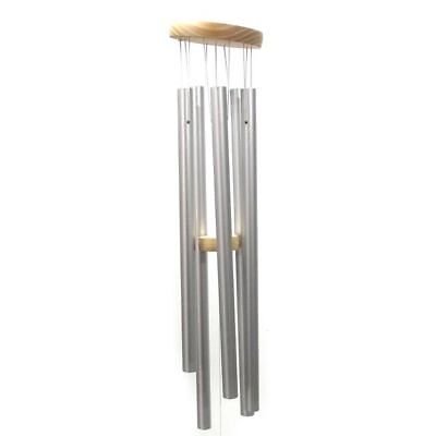 Wind Chime Metal Tube Garden Ornament BIG Silver 6 Tubes 92cm Drop