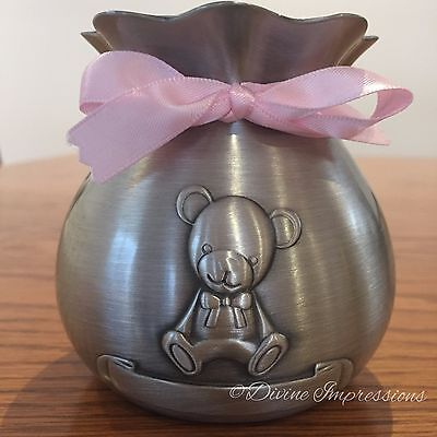 Pewter Baby Children's Money Box Bank with Teddy Bear & Engraving Space - Girl