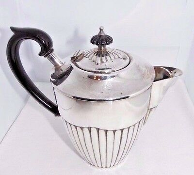Silver Plate Fluted Hot Water Jug Coffee Pot Queen Anne Style