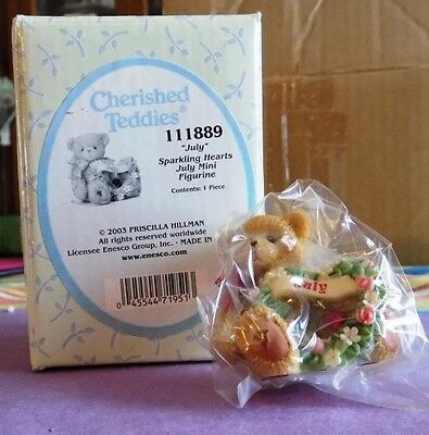 "Cherished Teddies July ""Sparkling Hearts"" (2003, # 111889) in Box"