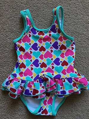 Mothercare Baby Girls Pink Purple Hearts Swimming Costume Age 3-6 Months