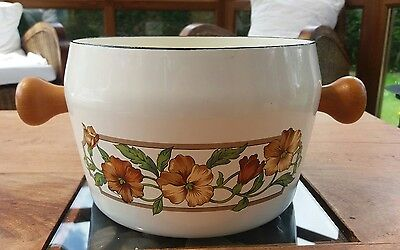 Lovely large vintage enamel pan cooking pot with flowers