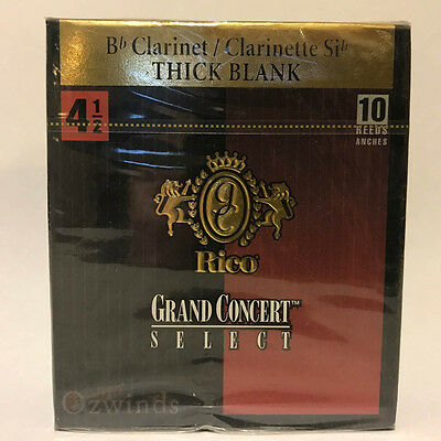 Grand Concert Select Thick Blank Bb Clarinet Reeds , Box of 10 Strength 4 1/2