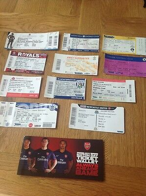 11 Used Arsenal Away Premier League Tickets and Ticket Wallet 2012/13 Season