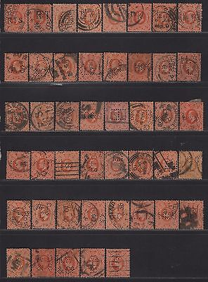 Great Britain Perfin Collection KEVII on 144/150 All Different Designs
