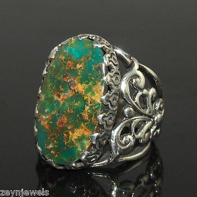 Handcrafted Artisan Men Ring Genuine Turquoise 925 Silver Unique Ottoman Style
