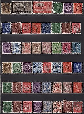 Great Britain Perfin Collection on QEII Different Design Faces