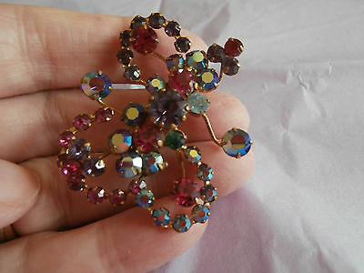 Vintage gold tone brooch lovely coloured aurora borealis stones in claws