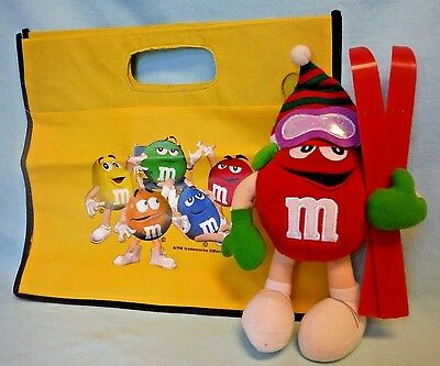 M&M's 2002 Red Plush Skier and 2009 Yellow Tote/Shopping Bag