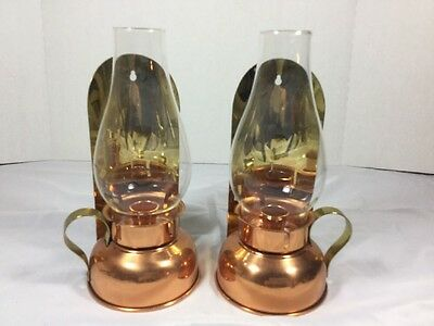 2 Vtge Coppercraft Guild Brass & Copper Wall Lanterns Candle Holders W Chimneys