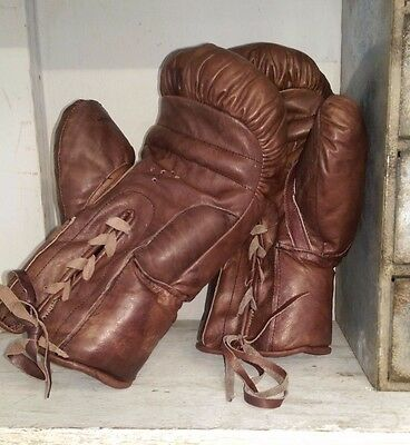 Vintage Style Brown Leather Boxing Gloves lace up boxing glove pair