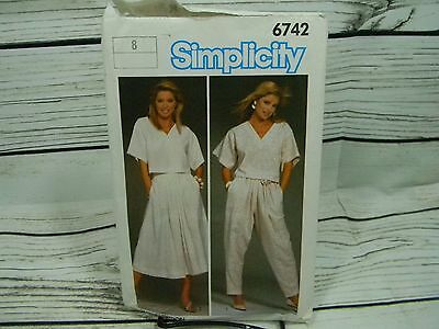 Vtg 80s Simplicity Skirt/Blouse/Top/Pants  #6742 Sewing Pattern NEW Size 8