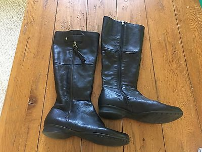 TAKEOFF Black Leather Zipper Tall Winter Riding Fashion Boots SZ 8.5