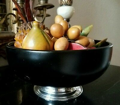 Hand Turned Vintage Large Mahogany Bowl Real Silver Base High End Wood Fruit