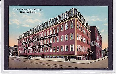 Marlboro, MA color postcard of the Rice and Hutchins shoe factory on Main St.