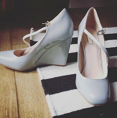 Next Ladies Grey Parent Wedge Shoes With Buckle Strap 4 / 37