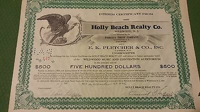 vintage stock certificate Holly Beach Realty Co. Wildwood New Jersey