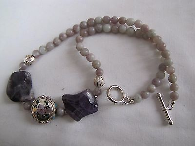 17 3/4'' Amethyst and Lilac Stone necklace