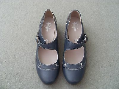 **bnwob - Ladies Mary Jane Leather Shoes - Airforce Blue - Footglove - Size 6**