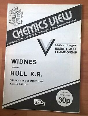 Widnes v Hull K R Rugby League progamme, 11 Dec 83, postponed.Good condition.
