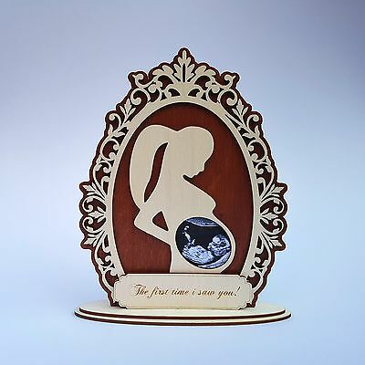 Personalised wooden Baby Scan Ultrasound Keepsake Photo Frame New mummy gift