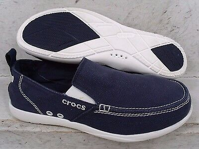 Crocs Mens Walu Navy White Canvas Slip On Flats Loafers Shoes 11270 size 10 M